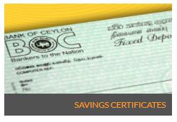 Bank of Ceylon Savings Certificates Fixed Deposit