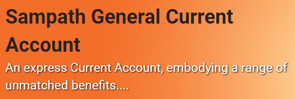 Sampath Bank Plc Sampath General Current Account Fixed Deposit